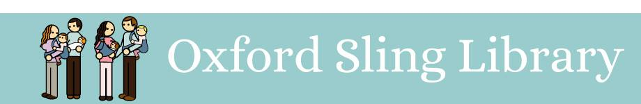 Oxford Sling Library name and four adults carrying children and toddlers (cartoon)