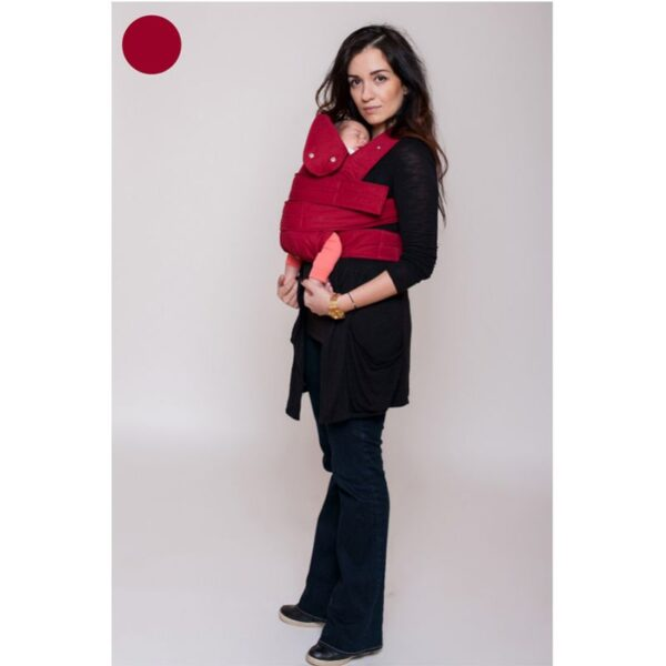 Ruby red marsupi on model with small baby asleep